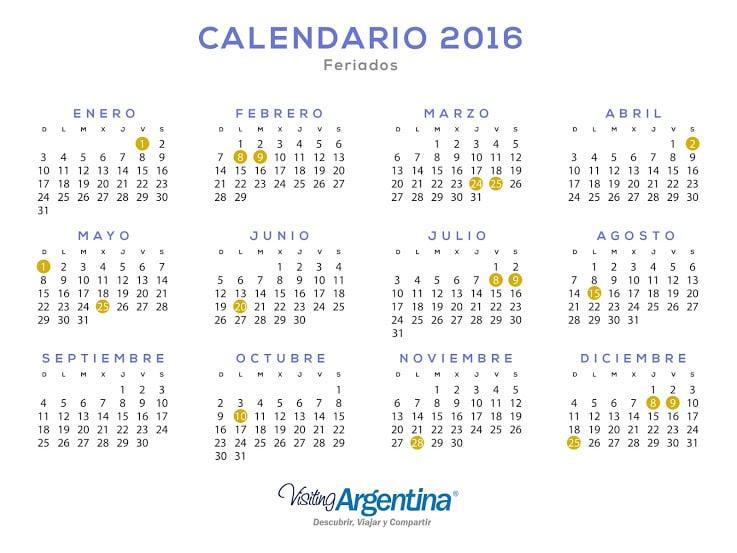 ... SE CONFIRMÓ EL CALENDARIO DE FERIADOS DEL 2016 | El Fundador Online